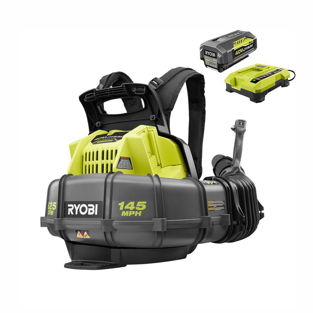 RYOBI 145 MPH 625 CFM 40-Volt Lithium-Ion Cordless Backpack Blower 5Ah Battery and Charger Included