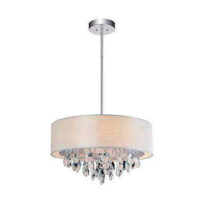 Dash 4-Light Chrome Chandelier with Off White shade