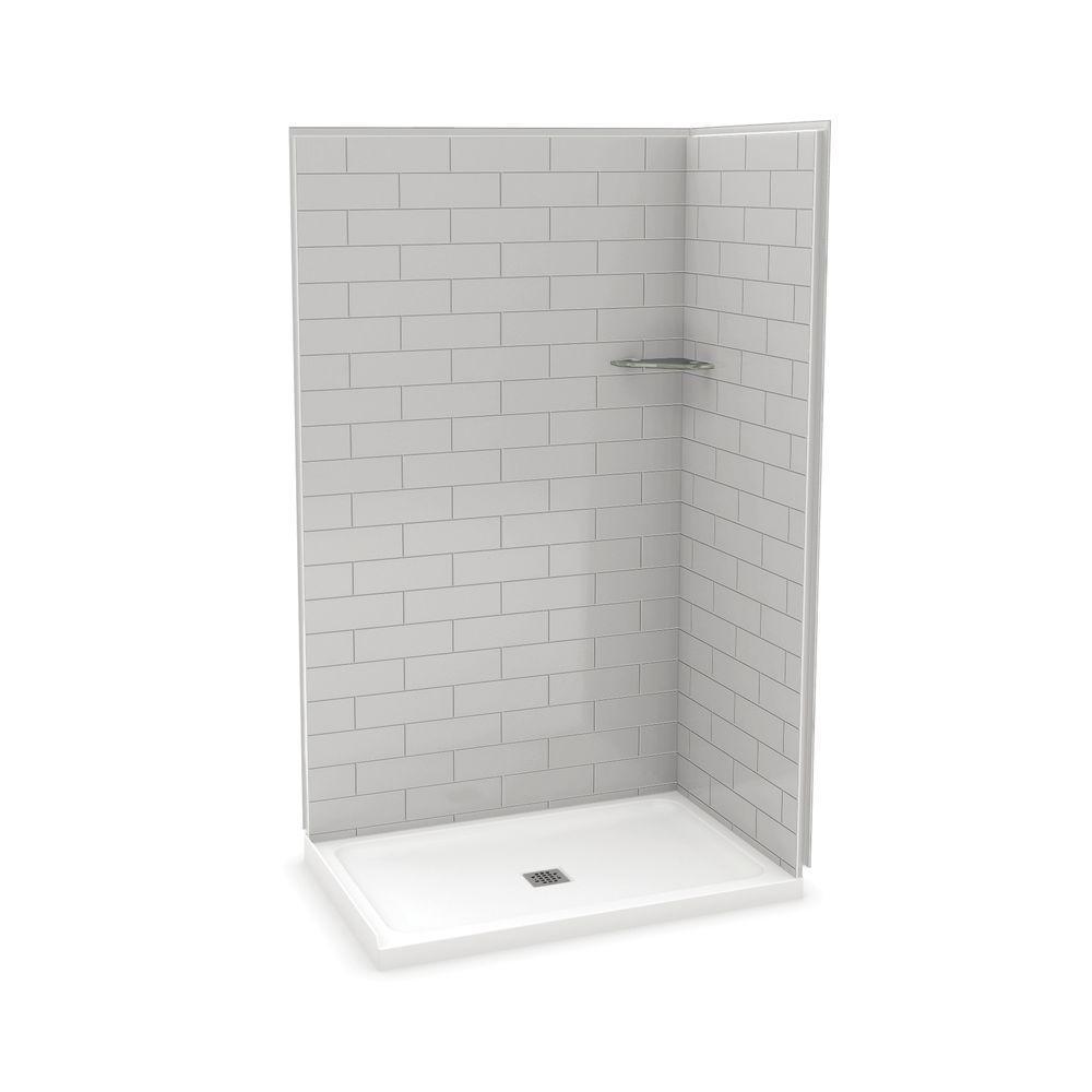 Utile Metro 32 in. x 48 in. x 83.5 in. Corner Shower Stall in Soft Grey with Center Drain Base in White