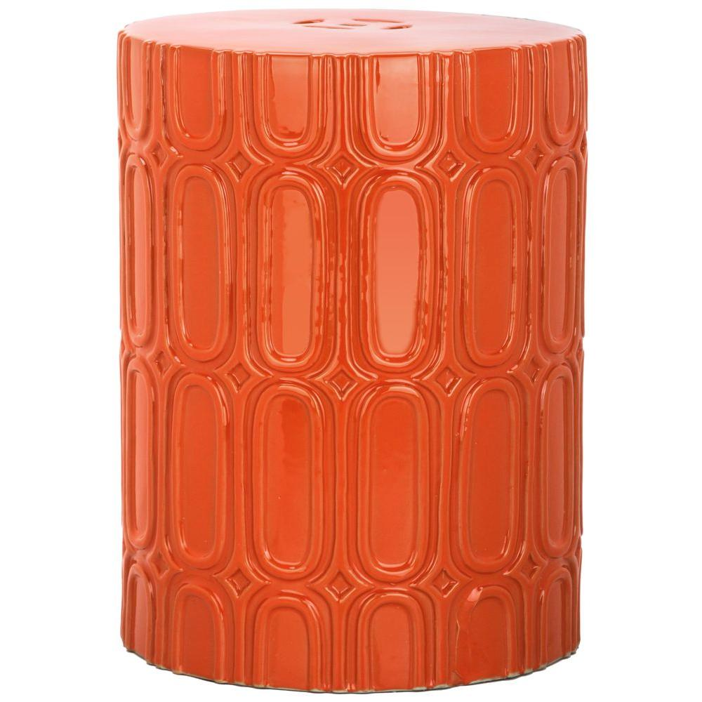 Safavieh Melody Orange Patio Stool Acs4529d The Home Depot