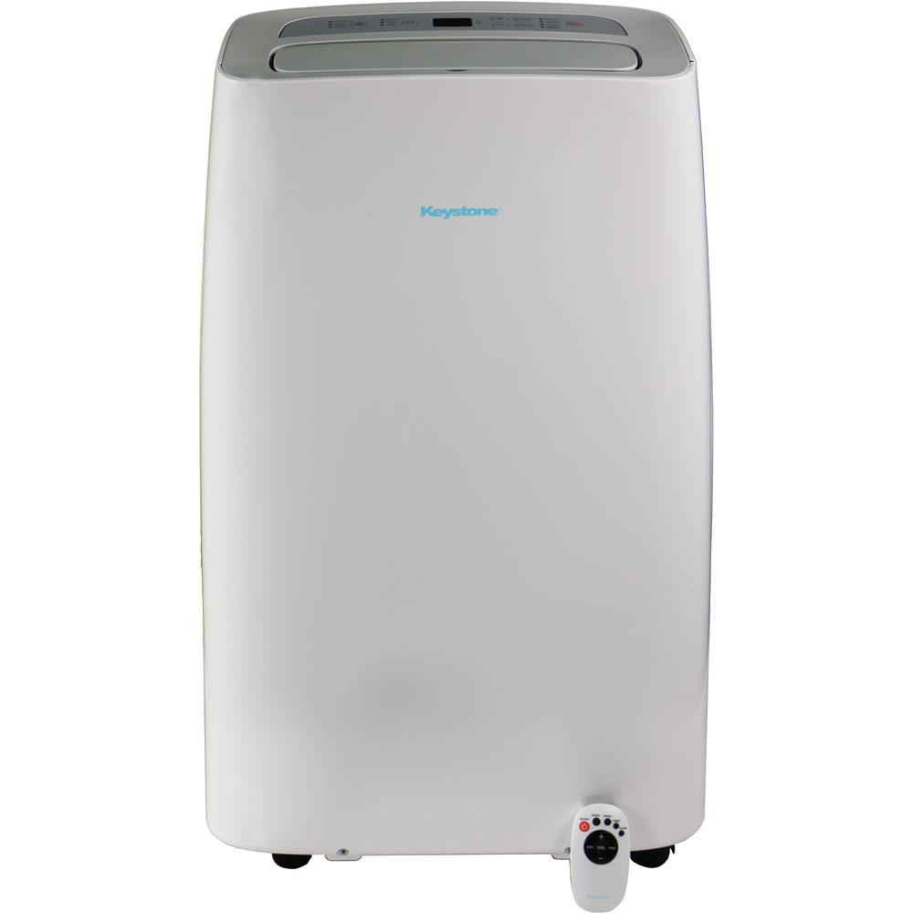 Keystone 14,000 BTU 7,700 BTU (DOE) Portable Air Conditioner with Dehumidifier and Follow Me Remote Control in White