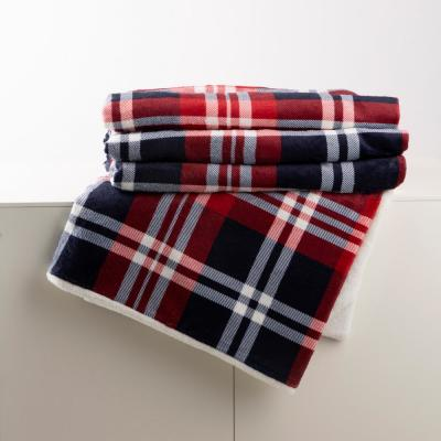 72 in. L x 48 in. W Flannel Red/Blue/White Plaid Reversible Duvet Cover