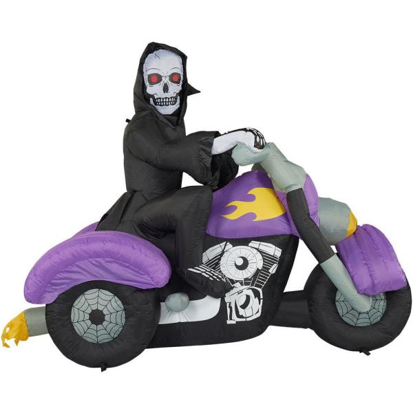 6 ft. Skeleton on Motorcycle Halloween Inflatable with Lights