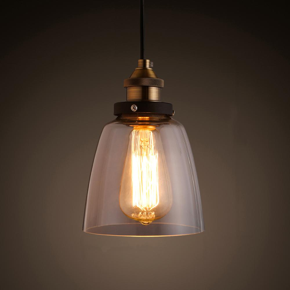 Internet 206674168 Shantele Edison Collection 1 Light Copper Clear Gl Indoor Adjule Pendant Lamp
