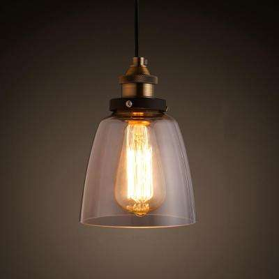 Shantele Edison Collection 1 Light Copper Clear Gl Indoor Adjule Pendant Lamp