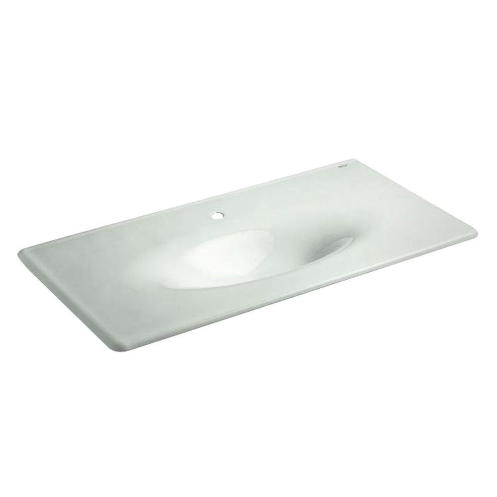 KOHLER 22.25 in. Iron/Impressions Vanity Top Bathroom Sink in Sea Salt