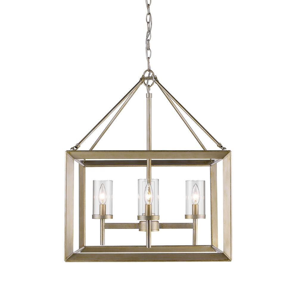 Golden Lighting Smyth 4 Light White Gold Chandelier With Clear Glass Cleaning And Rewiring Chandeliers Shade