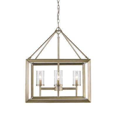 Smyth 4-Light White Gold Chandelier with Clear Glass Shade