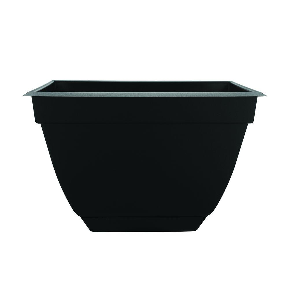 Newbury 13.88 in. x 13.88 in. Black Poly Square Planter