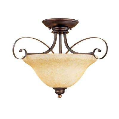 2-Light Rubbed Bronze Semi Flush Mount with Turinian Scavo Glass