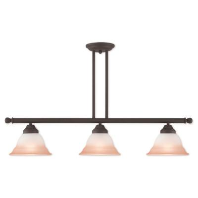Wynnewood 3-Light Bronze Linear Chandelier with Hand Applied Sunrise Marble Glass Shade