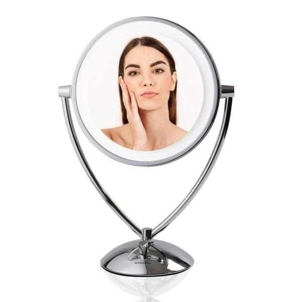 Magnifying Dimmable Cool-Tone LED Light Polished Chrome Lighted Tabletop Makeup Mirror, 1x 5x Magnification