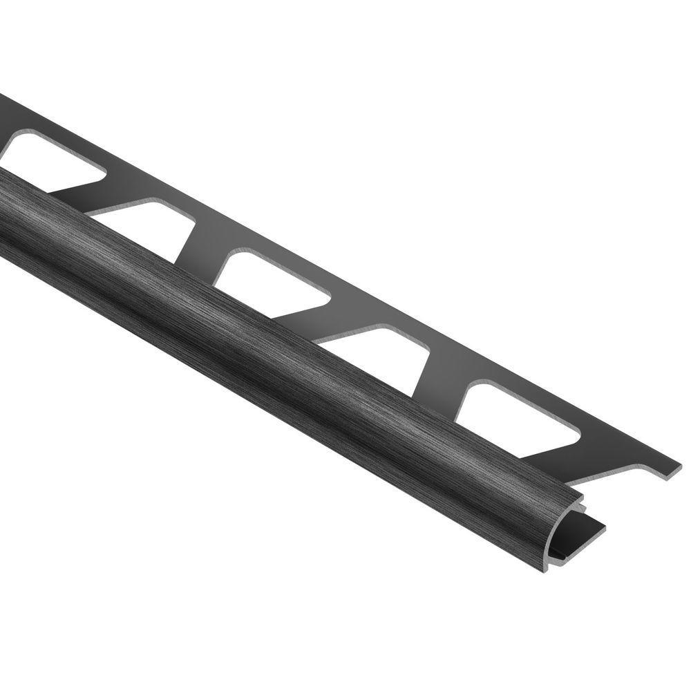 Rondec Brushed Black Anodized Aluminum 3/8 in. x 8 ft. 2-1/2 in. Metal Bullnose Tile Edging Trim