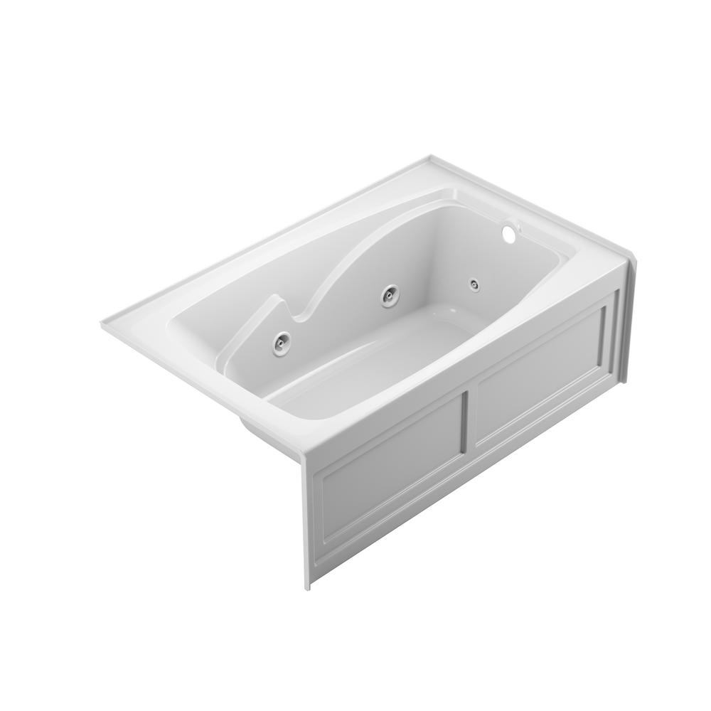 JACUZZI CETRA 60 in. x 36 in. Acrylic Right Drain Rectangular Alcove Whirlpool Bathtub in White