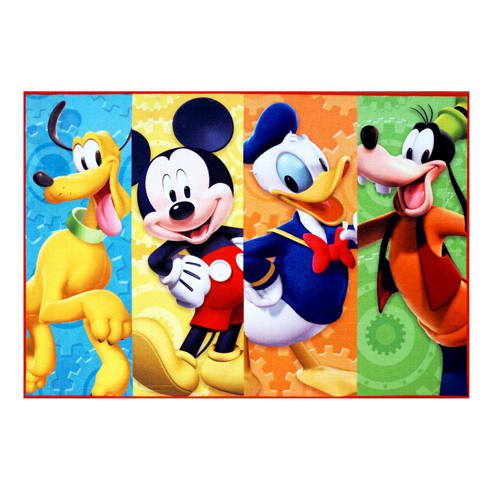 Disney Mickey Mouse Multi-Color 5 ft. x 7 ft. Clubhouse Juvenile Area Rug