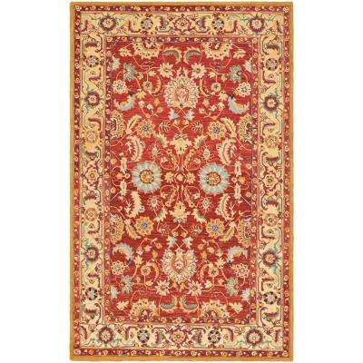 Chelsea Red/Ivory 3 ft. 9 in. x 5 ft. 9 in. Area Rug