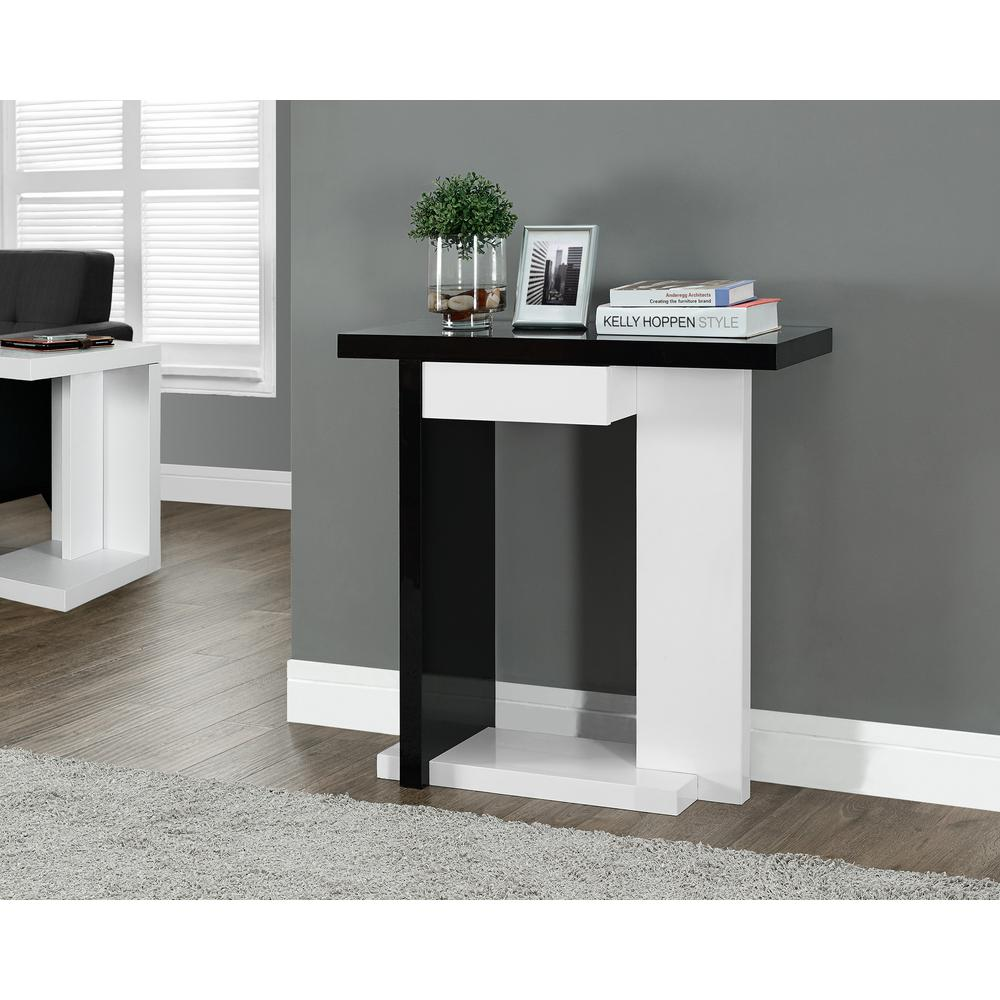 Monarch specialties black and white console table