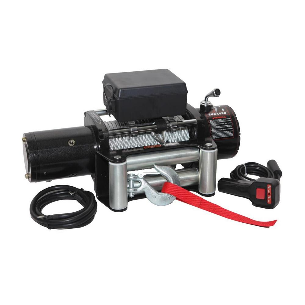 12,000 lb. Capacity 12-Volt Electric Recovery Winch with Remote and 79