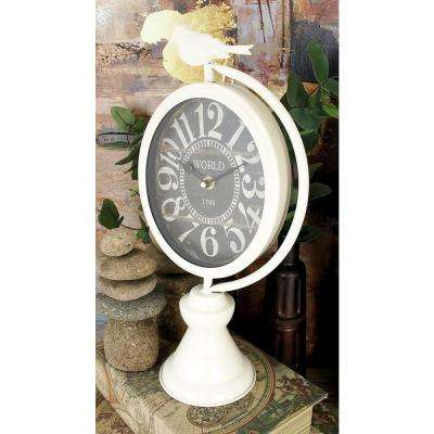 17 in. x 8 in. White and Black Iron Vintage-Style Round Table Clocks (Set of 2)