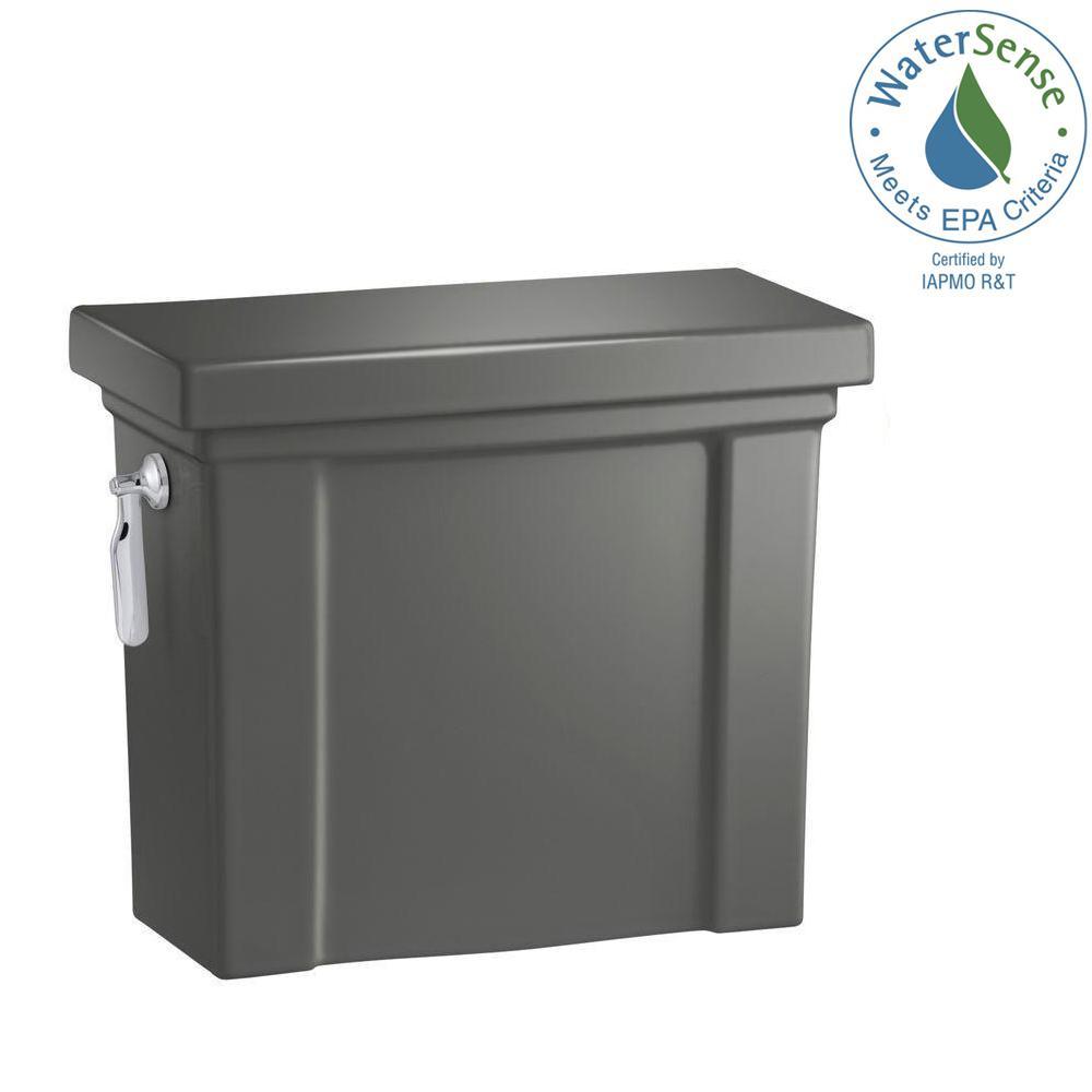 Tresham 1.28 GPF Single Flush Toilet Tank Only with AquaPiston Flushing Technology in Thunder Grey
