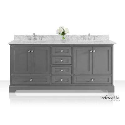 Audrey 72 in. W x 22 in. D Vanity in Sapphire Gray with Marble Vanity Top in White with White Basins