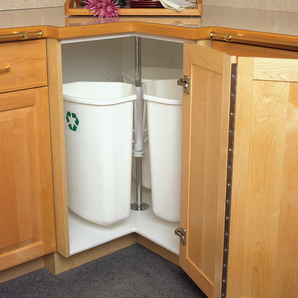 Knape & Vogt 28.5 inch x 27.625 inch x 27.625 inch In Cabinet Corner Trash Can by Knape & Vogt