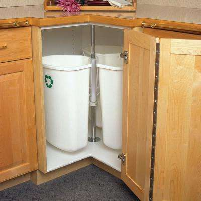 28.5 in. x 27.625 in. x 27.625 in. In Cabinet Corner Trash Can