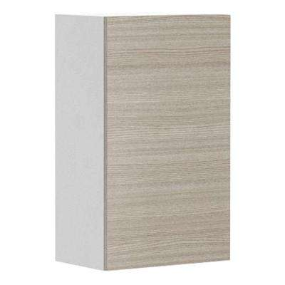 Ready to Assemble 18x30x12.5 in. Geneva Wall Cabinet in White Melamine and Door in Silver Pine
