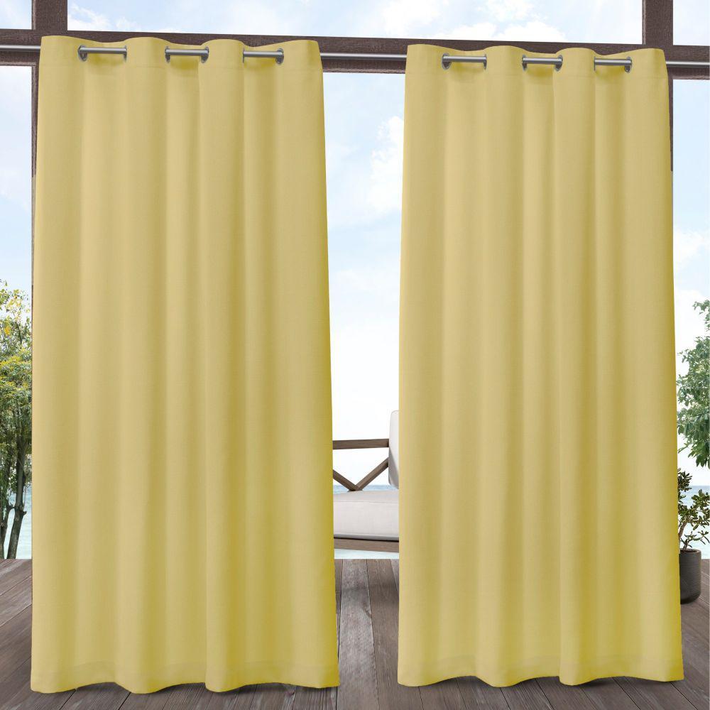 Biscayne 54 in. W x 84 in. L Indoor Outdoor Grommet Top Curtain Panel in Butter (2 Panels)
