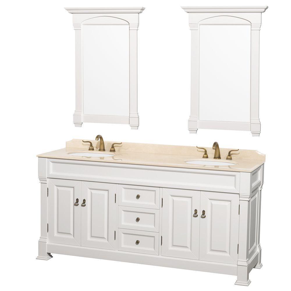 Double Vanity In White With Marble Vanity Top
