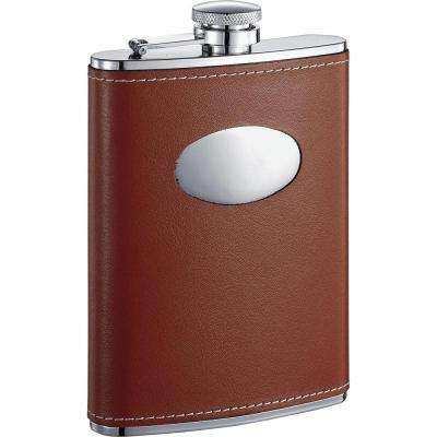 Bobcat Brown Leather Stainless Steel 8 oz. Flask