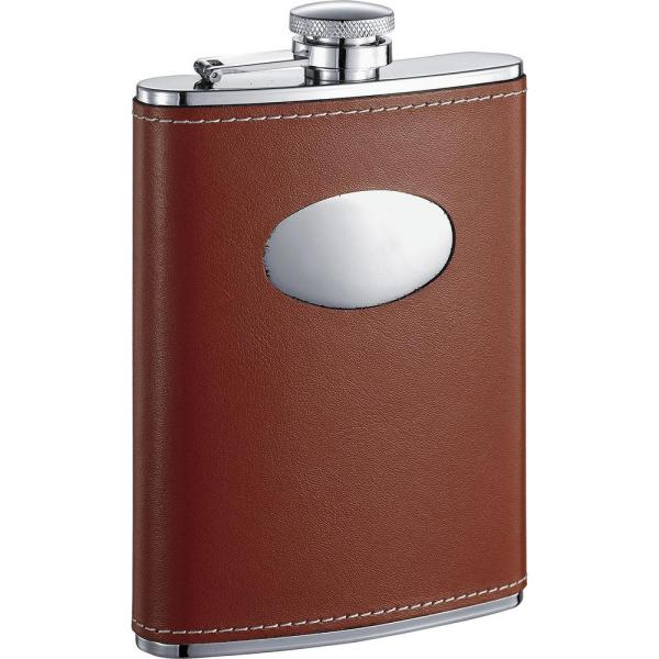 Visol Bobcat Brown Leather Stainless Steel 8 oz. Flask VF1115