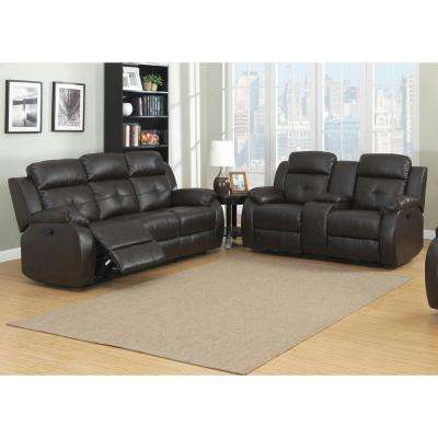 Troy 2-Piece Espresso Faux Leather Transitional Living Room Power Reclining Set