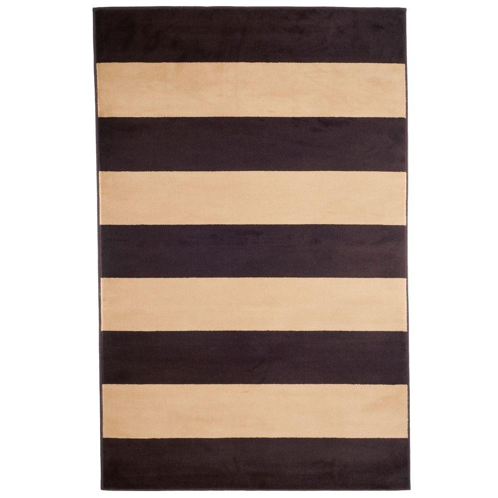 Stripe Brown 3 ft. 3 in. x 5 ft. Area Rug
