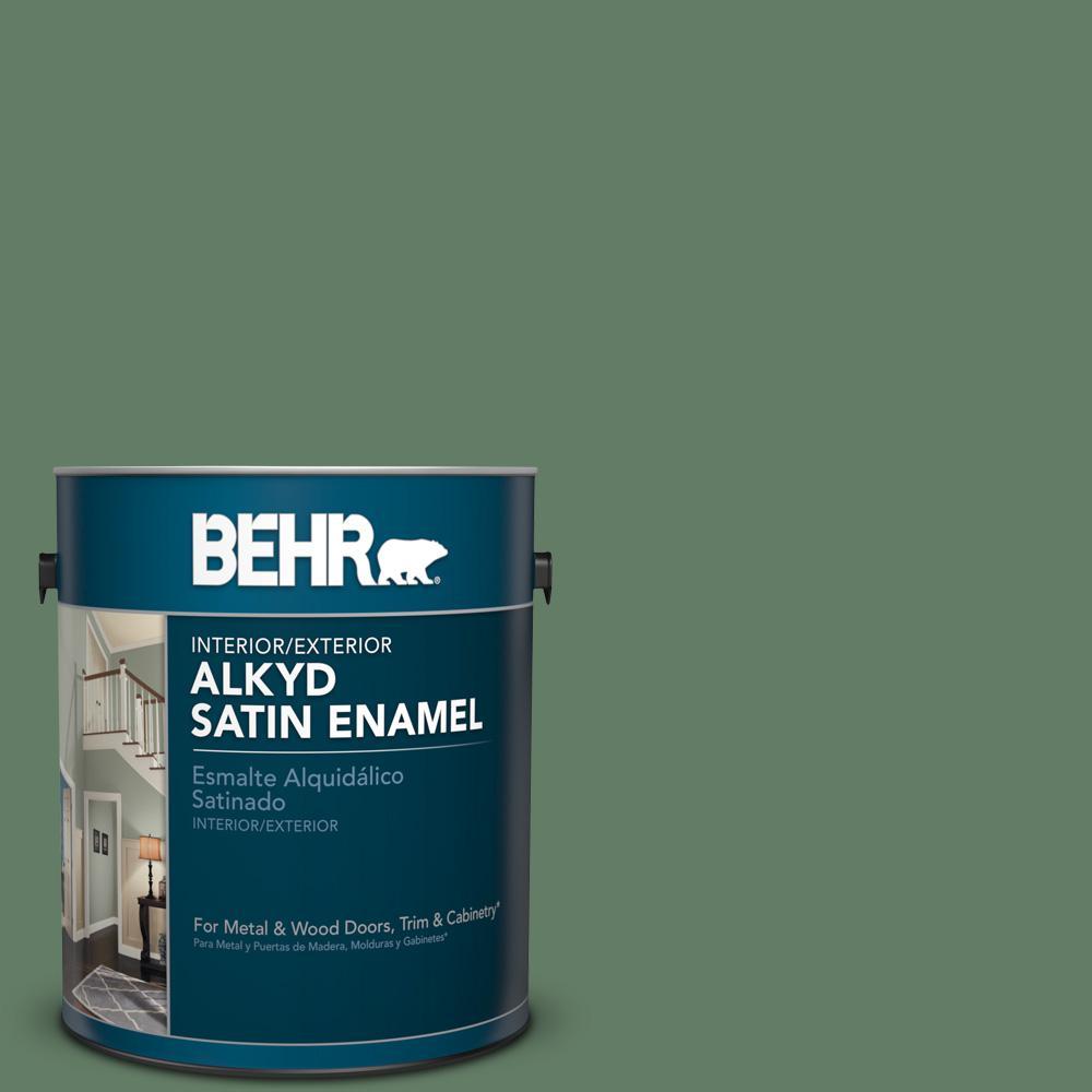 1 gal. #S410-6 Greener Pastures Satin Enamel Alkyd Interior/Exterior Paint