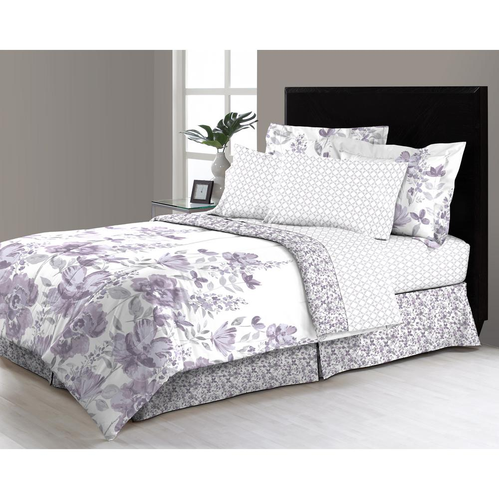 freida floral 8 piece queen bed in a bag comforter set m561542 the home depot. Black Bedroom Furniture Sets. Home Design Ideas
