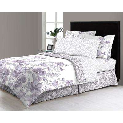 Freida Floral 8-Piece Queen Bed in a Bag Comforter Set