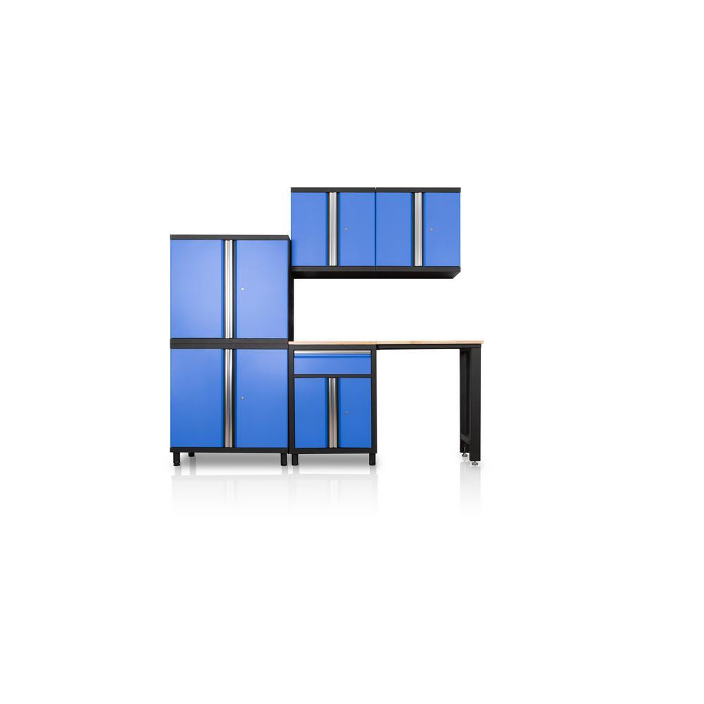 Pro Series III 81.1 in. H x 95.5 in. W x 18 in. D 23/24-Gauge Steel Wood Worktop Cabinet Set in Blue (6-Piece)