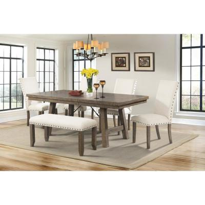 Dex 6-Piece Dining Set-Table 4 Upholstered Side Chairs and Bench