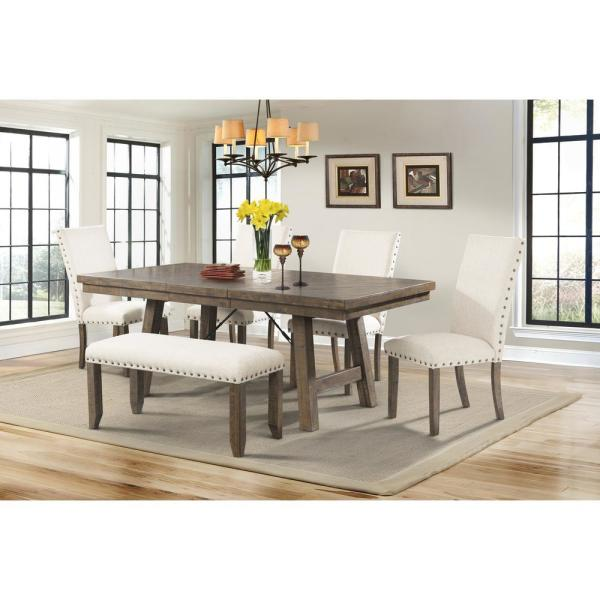 Dex 6-Piece Dining Set-Table 4 Upholstered Side Chairs and Bench DJX100SB6PC