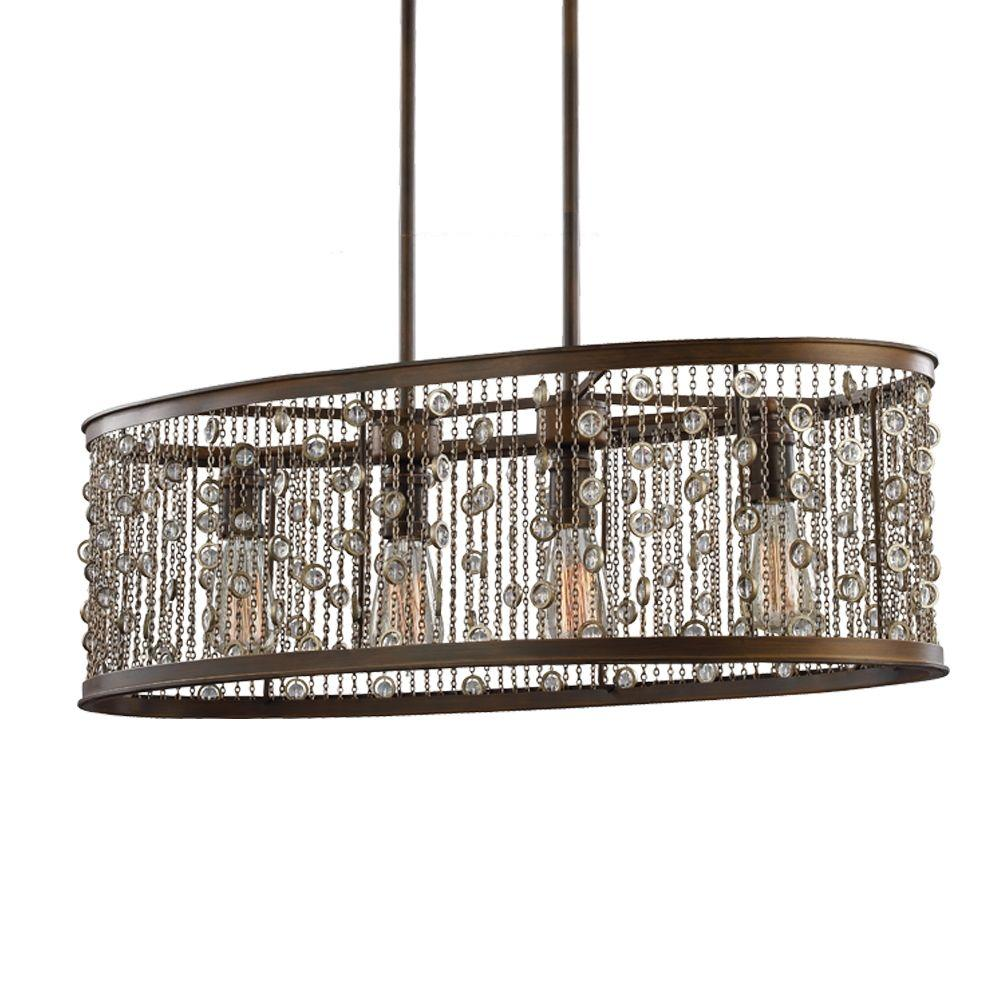 Feiss Colorado Springs 4 Light Chestnut Bronze Single Tier Chandelier Shade