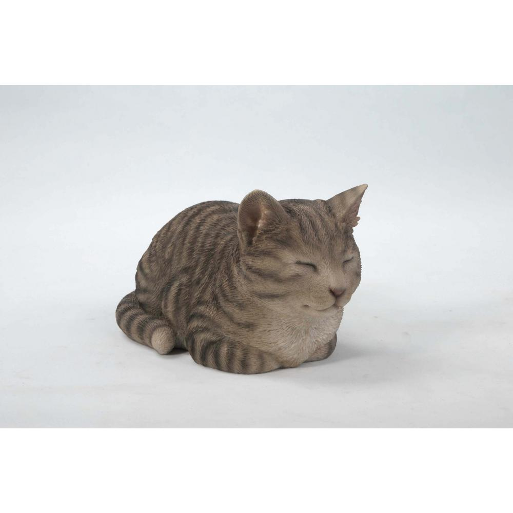 Sleeping Grey Tabby Cat Statue 87729 C