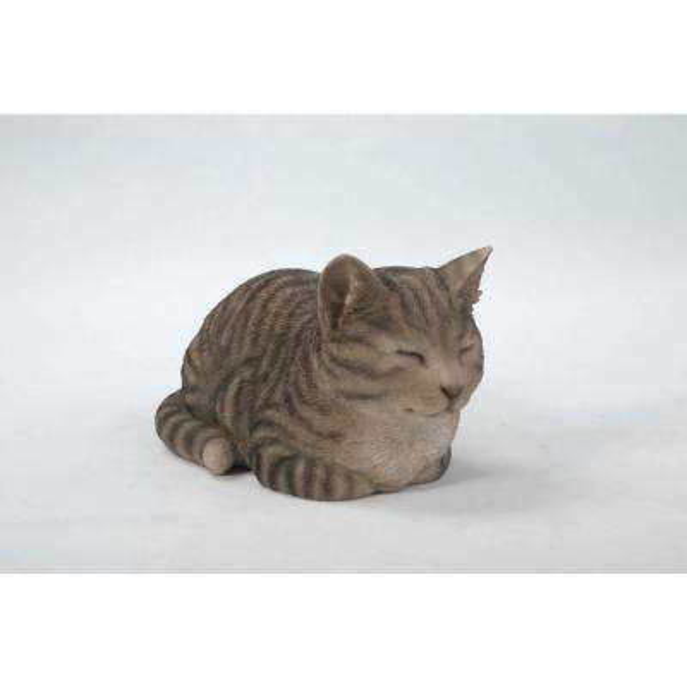 Sleeping Grey Tabby Cat Statue