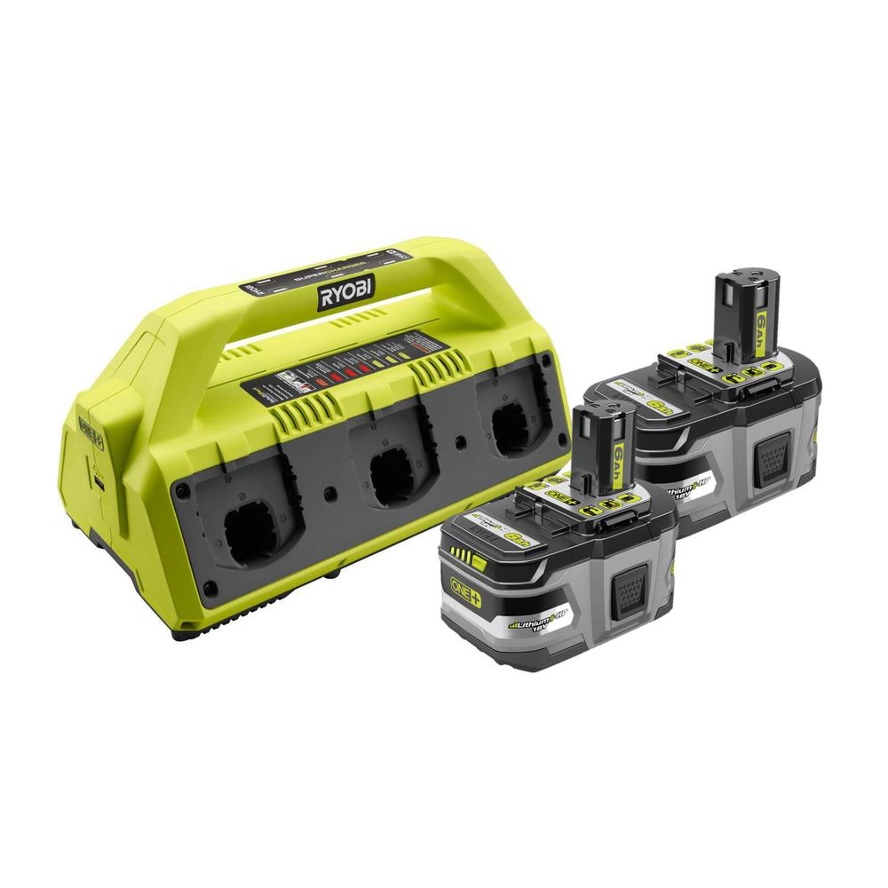 RYOBI 18-Volt ONE+ 6-Port Dual Chemistry SUPERCHARGER Kit with (2) 6.0 Ah LITHIUM+ HP High Capacity Batteries