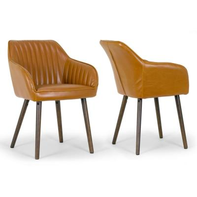 Alaura Arm Chair in Caramel Brown Faux Leather with Beech Legs (Set of 2)