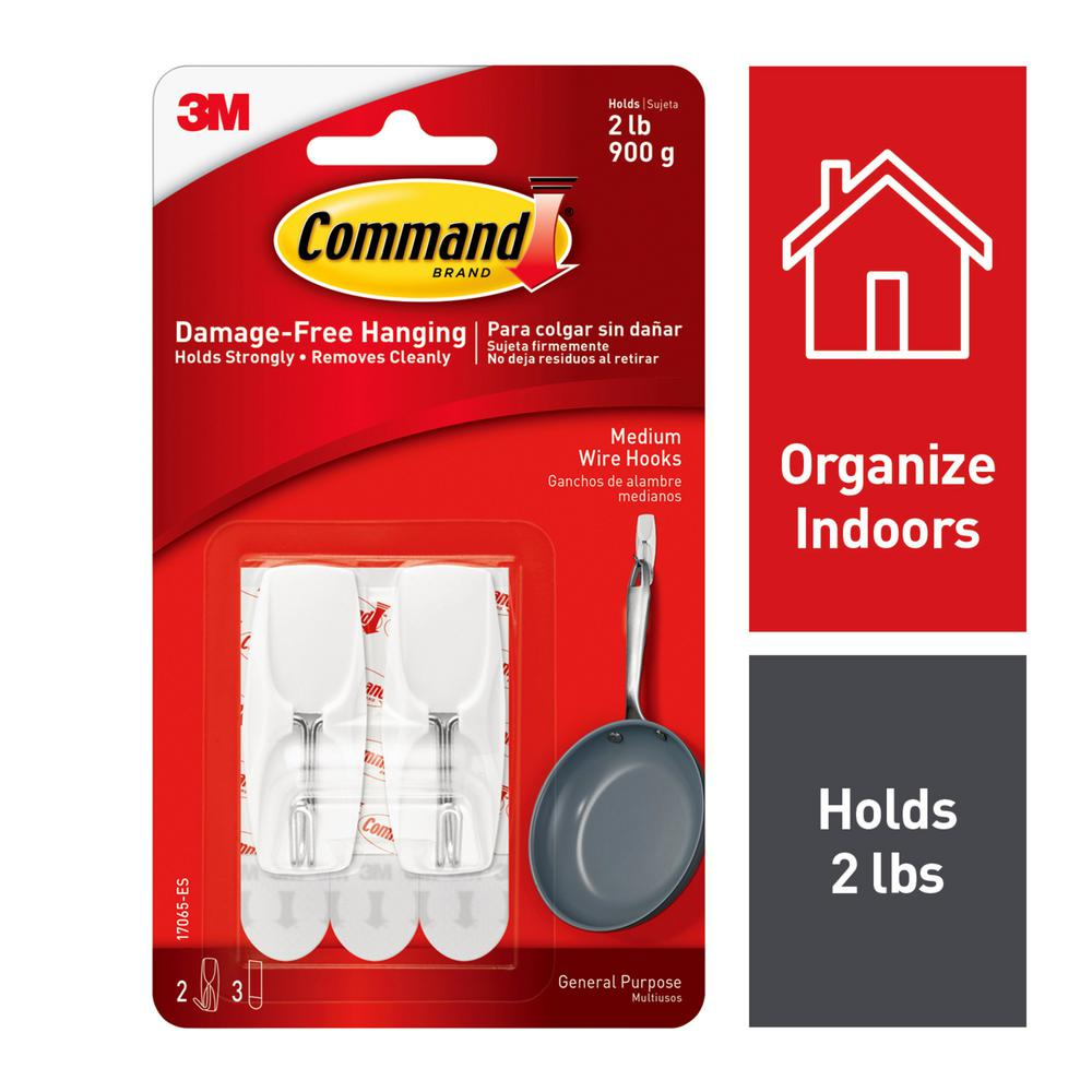 Command Medium White Wire Toggle Hook (2-Pack)