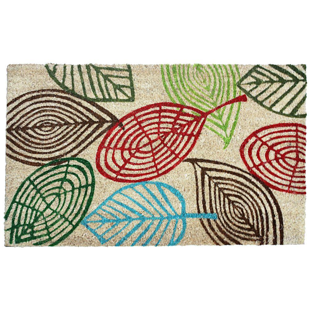 J & M Home Fashions Leaves Multi 18 in. x 30 in. Vinyl Back Coco Door Mat