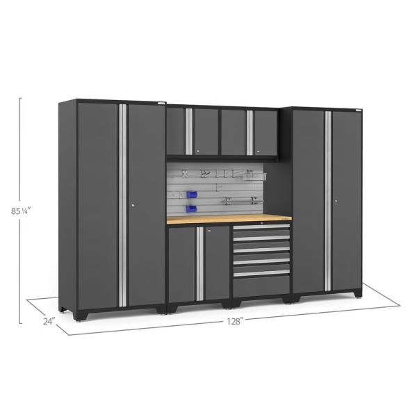 Newage Products Pro Series 128 In W X 84 75 In H X 24 In D 18 Gauge Steel Cabinet Set In Platinum 7 Piece 52984 The Home Depot