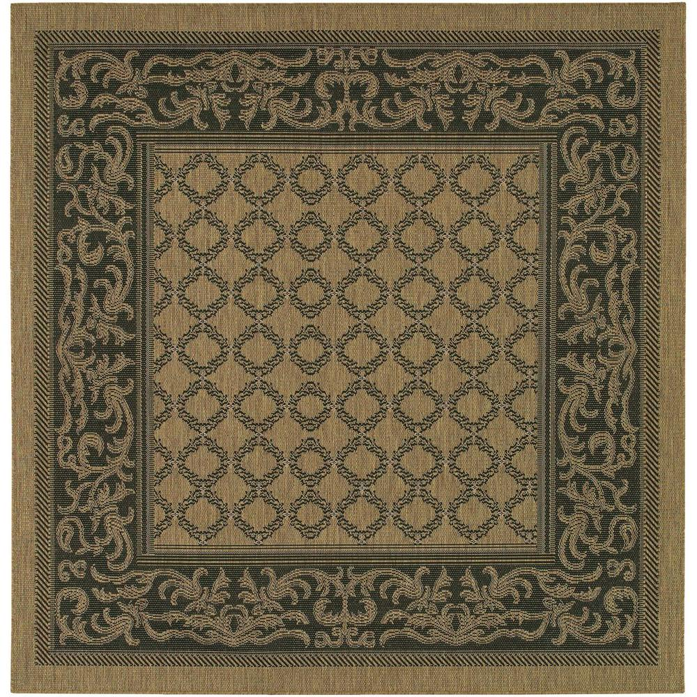 Indoor Outdoor Rugs Square: Couristan Recife Garden Lattice Cocoa-Black 9 Ft. X 9 Ft