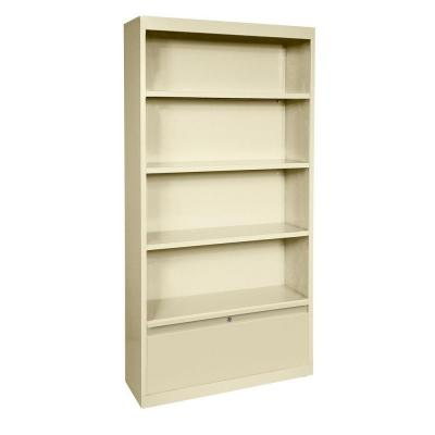 58 in. Putty Metal 4-shelf Standard Bookcase with Adjustable Shelves